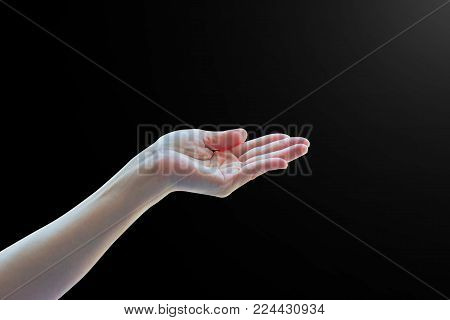 Isolated Empty Open Human Hands With Palm Raised Upward In Holding Posture On Black Background