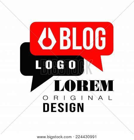 Vlog or video blog label with black and red speech bubbles. Original emblem for internet or online television. Concept of visual-communication blog. Vector illustration isolated on white background.