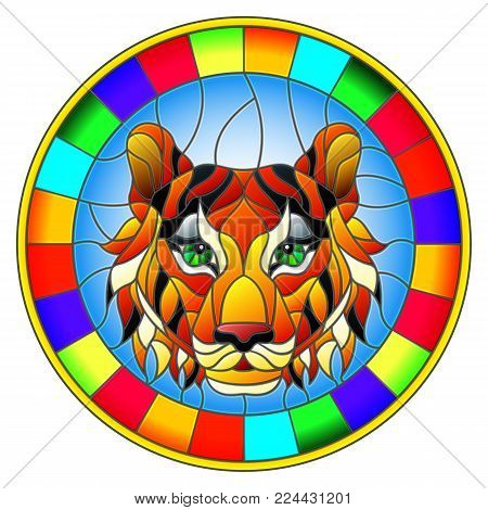 The illustration in stained glass style painting with a tiger's head , a circular image with bright frame