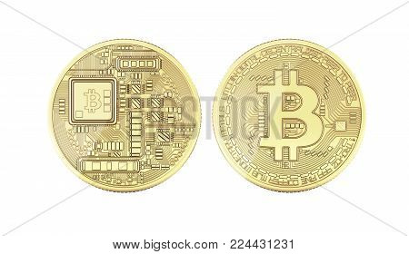 Bitcoin 3D isometric Physical bit coin in gold Digital currency Cryptocurrency Golden coins with symbol isolated on white background 3d render illustration without shadow