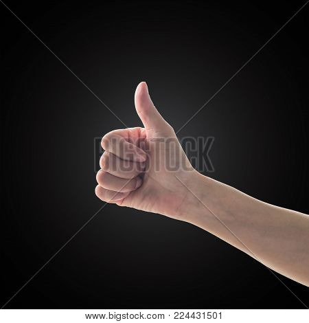 Like - unlike hand with thumb up - down symbolic people gesture isolated on black background with clipping path