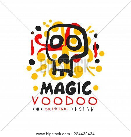 Original Voodoo African and American magic logo or label design with abstract hand drawn mystic skull and decoration. Spiritual or magical print design. Mystical vector illustration isolated on white