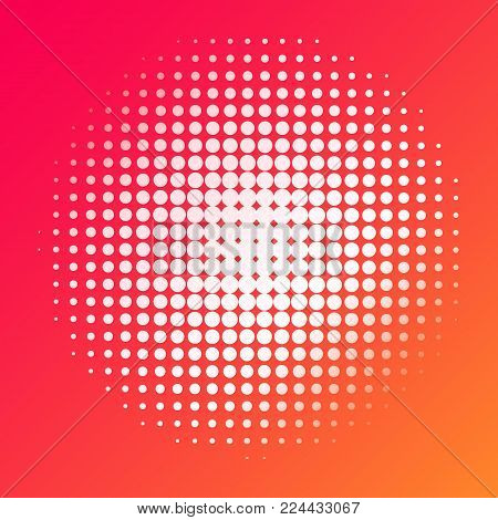 Halftone dots circle background. Abstract half tone polka dot texture template for banner, web site, posters, website, page, business card, interior design. Pop art, comic retro vector backdrop