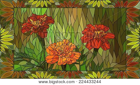 Vector mosaic with orange marigold in horizontal stained-glass window frame.