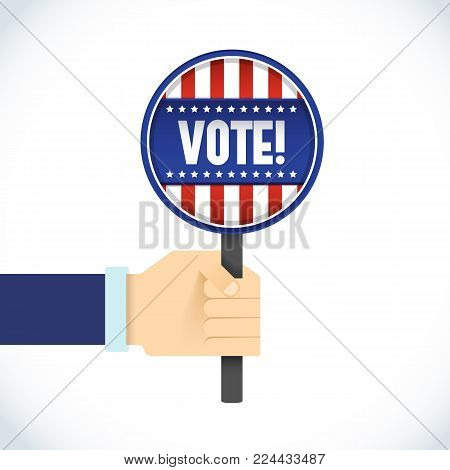 American Presidential election flat template with hand holding magnifier with USA flag on white background vector illustration