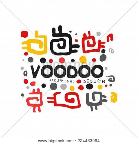 Ornamental kid s style drawing Voodoo magic logo template design. Abstract magical theme pattern. Religion and culture concept label. Colorful hand drawn mystical vector illustration isolated on white