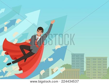 Happy businessman flying up with growing statistics arrows. Successful young worker in formal suit, red tie and superhero cloak. Blue sky and office building on background. Colored flat vector design.