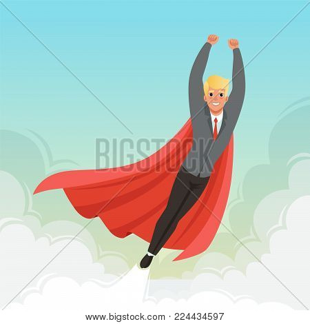 Young businessman flying with hands up on blue sky. Concept of career advancement. Cartoon blond guy in stylish suit, red tie and superhero mantle. Successful office worker. Flat vector illustration.