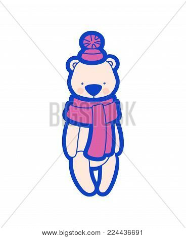Vector teddy bear. Winter plush toy in cap with pompon and scarf. Illustration isolated on white background
