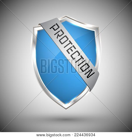 Protection shield concept with banner. Safety badge icon. Privacy banner. Security label. Defense tag. Presentation sticker shape. Defense sign. Vector illustration.