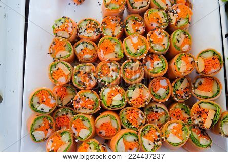 Fusion food many kind of vegetable spring rolls for healthy eating.