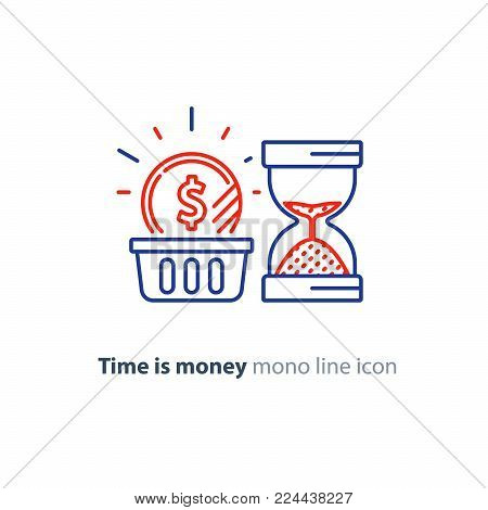 Financial basket, time is money concept, budget planning, fund rising, savings account, long term investment strategy, income growth, sand glass vector mono line icon