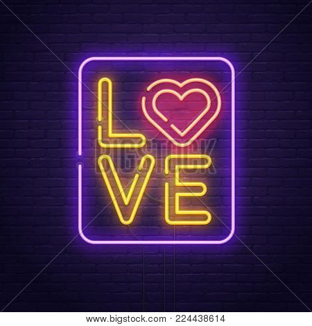 Happy Valentine's day. 3d neon sign. Realistic neon sign. Love day banner, logo, emblem and label. Light banner.