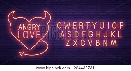 Angry Love. 3d neon sign, bright signboard, light banner. Valentine's day logo, emblem and label. Neon sign creator.
