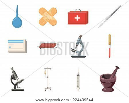 Medical tools icon set. Cartoon set of medical tools vector icons for web design isolated on white background