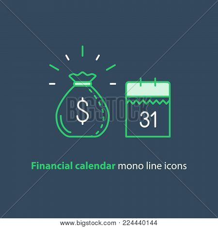 Financial calendar, annual payment day, monthly budget planning, fixed period concept, loan duration, vector mono line icons