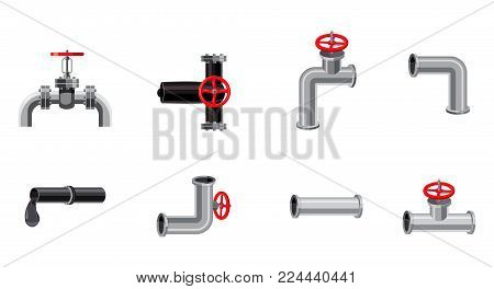 Pipe icon set. Cartoon set of pipe vector icons for web design isolated on white background