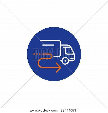 Truck delivery services, fast relocation, transportation company logo elements, shipping order, distribution line icon, tracking parcel outline vector