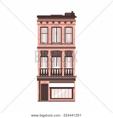 Vector flat building icon. Vintage architecture. Office apartment, residential building construction. Downlown metropolis, dormitory area symbol urban landscape background design Isolated illustration