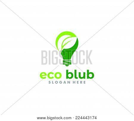 Vector Logo Design Of Green Energy Light Bulb, Smart Green Energy, Renewable Energy Source