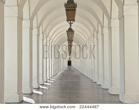 Graceful arches in the courtyard of Pasadena California's historic City Hall.