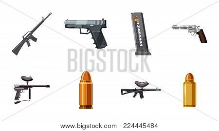 Weapons icon set. Cartoon set of weapons vector icons for web design isolated on white background