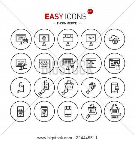 Vector thin line flat design icons set for e-commerce theme