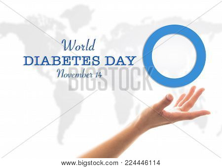 World Diabetes Day Concept With Blue Circle Symbolic Logo On Protective Hands Support For Diabetic D
