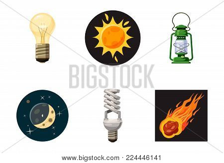 Light source icon set. Cartoon set of light source vector icons for web design isolated on white background