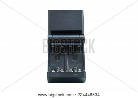 Black charging for rechargeable finger batteries front view isolated on white background