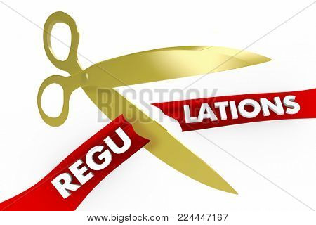 Regulations Scissors Cutting Red Tape Rules 3d Illustration