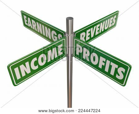 Income Profits Earnings Revenues Street Road Signs 3d Illustration