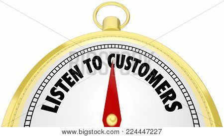 Listen to Customers Compass Hear Buyers Needs 3d Illustration