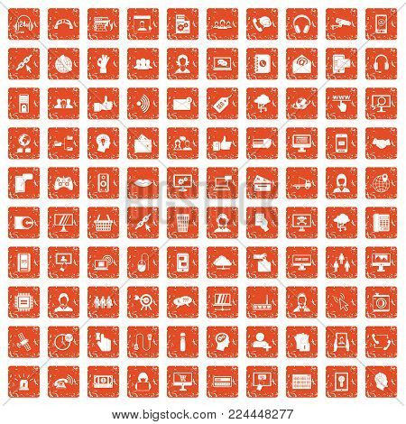 100 contact us icons set in grunge style orange color isolated on white background vector illustration