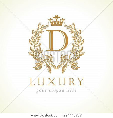 Luxury D letter and crown monogram logo. Laurel elegant beautiful round identity with crown and wreath. Vector letter emblem D for Antique, Restaurant, Cafe, Boutique, Hotel, Heraldic, Jewelry