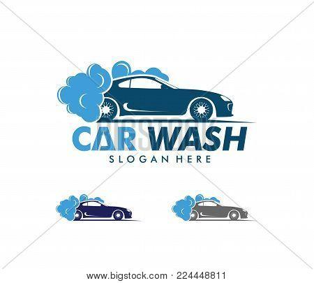 Vector Logo Design Of Car Wash Service, Car Wash Maintenance