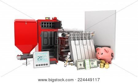 modern concept heating saving solid fuel boiler battery electric boiler and thermostat 3d render on a white background no shadow