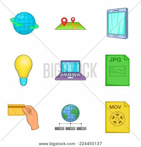 Info business icons set. Cartoon set of 9 info business vector icons for web isolated on white background