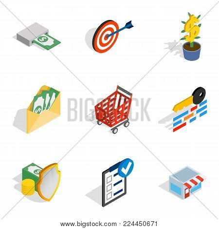 Info field icons set. Isometric set of 9 info field vector icons for web isolated on white background