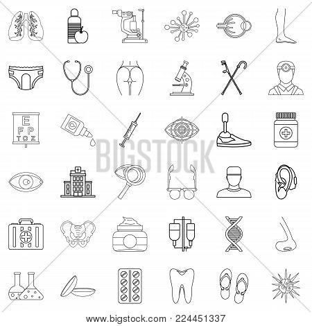 Health institution icons set. Outline set of 36 health institution vector icons for web isolated on white background