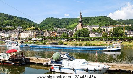 travel to Germany - view of Cochem city with Sankt Martin Church from Moselle river in summer day