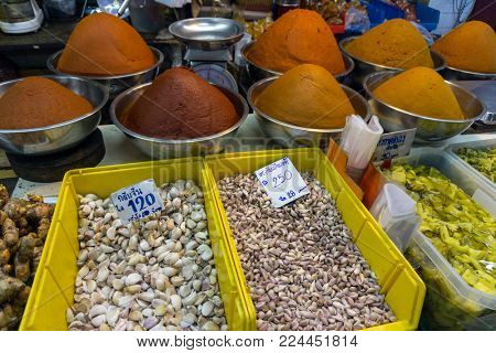 Spices, roots and herbs on the counter, the market in Thailand