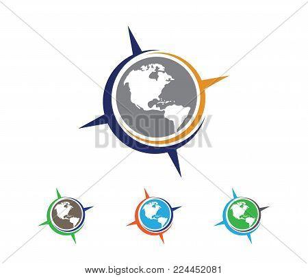Vector Logo Design Illustration For Travel Tour Agency, Location Navigation Compass Adventure, Explo