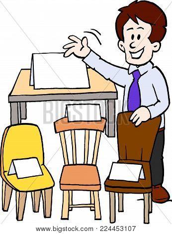 Cartoon Vector illustration of a of a furniture seller