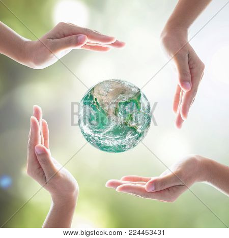 Earth Day And Saving Green World With Environmental Protection Concept: Element Of This Image Furnis