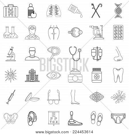 Wellbeing icons set. Outline set of 36 wellbeing vector icons for web isolated on white background poster