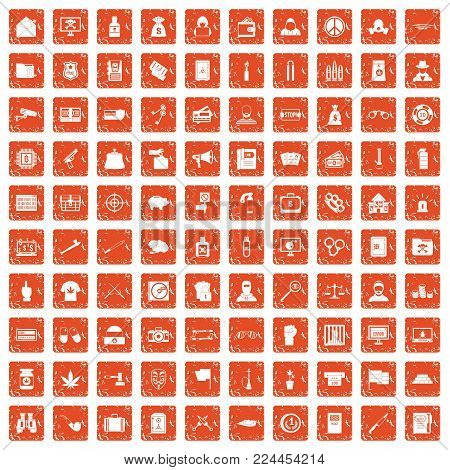 100 criminal offence icons set in grunge style orange color isolated on white background vector illustration