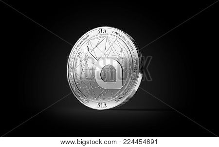 Silver SIA cryptocurrency physical concept coin isolated on black background. 3D rendering