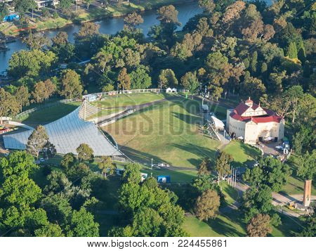 Melbourne, Australia - January 16, 2018: the Pop-up Globe Theatre is touring Melbourne, situated at the Sydney Myer Music Bowl.