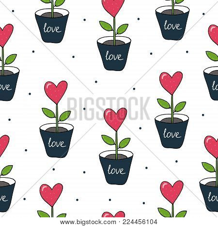Valentine's day card. Cute hand drawn seamless pattern with flower